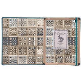 Arte del modelo de mosaico de la sari de Brown azu