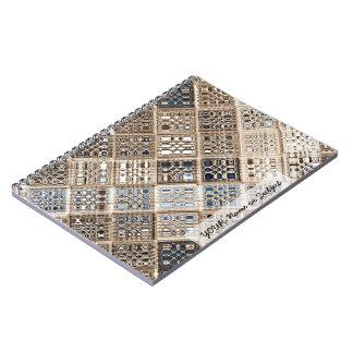 Arte del modelo de mosaico de la sari de Brown azu Libreta Espiral