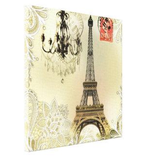 arte del modelo del cordón de la torre Eiffel de Impresión En Lienzo Estirada