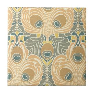 arte del modelo del pavo real del nouveau del arte azulejo cuadrado pequeño
