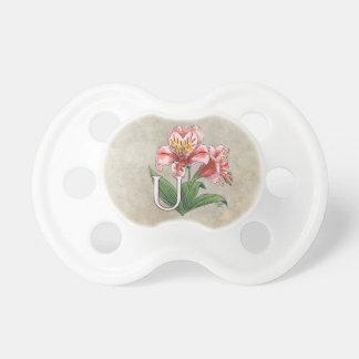 Arte del monograma del alfabeto de la flor de chupetes de bebé