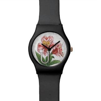 Arte del monograma del alfabeto de la flor de reloj de mano