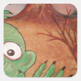 arte del monstruo calcomania cuadradas personalizada
