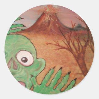 arte del monstruo etiquetas redondas
