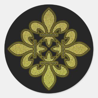 Arte del mosaico de la flor de lis pegatina redonda