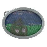 Arte del mosaico hebilla cinturon oval