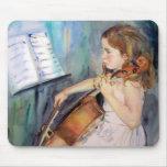 Arte del Musical del violoncelista de la niña Tapetes De Ratón