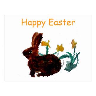 Arte del narciso del conejo de la primavera tarjeta postal