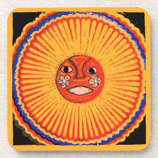 Arte del nativo americano de Huichol, el sol Posavaso