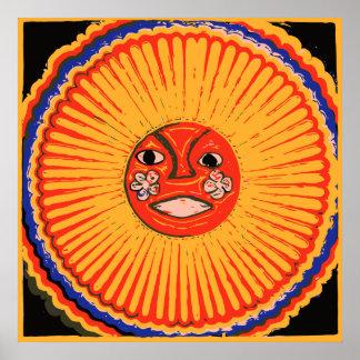 Arte del nativo americano de Huichol, el sol Póster