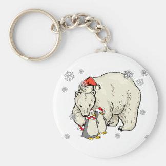 Arte del navidad del copo de nieve del oso y de lo llavero redondo tipo pin