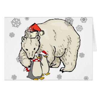 Arte del navidad del copo de nieve del oso y de lo felicitacion
