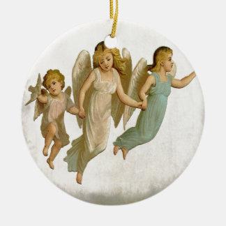 Arte del navidad del día de fiesta del vintage de adorno redondo de cerámica