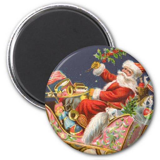 Arte del navidad del Victorian del vintage del tri Imán Redondo 5 Cm
