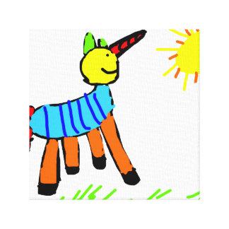 Arte del niño, unicornio mágico, lona envuelta