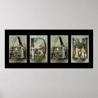 Arte del nombre de letra del alfabeto de ADÁN Posters