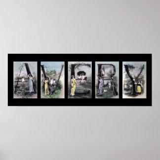Arte del nombre de letra del alfabeto de AVERY Poster
