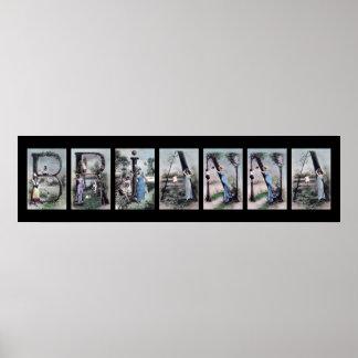 Arte del nombre de letra del alfabeto de BRIANNA Poster