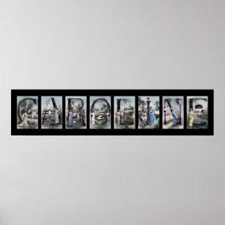 Arte del nombre de letra del alfabeto de CAROLINE Poster