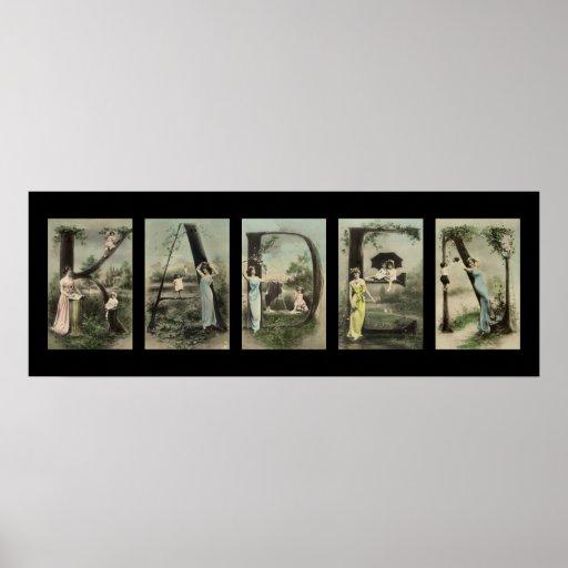 Arte del nombre de letra del alfabeto de KADEN Posters