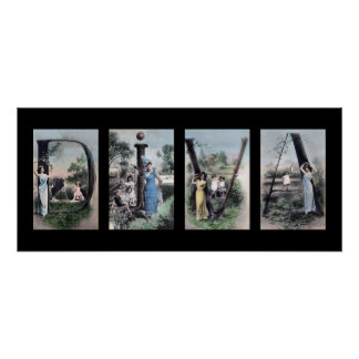 Arte del nombre de letra del alfabeto de la DIVA Poster