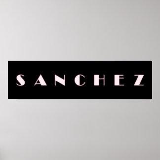 Arte del nombre de letra del alfabeto de SÁNCHEZ Póster