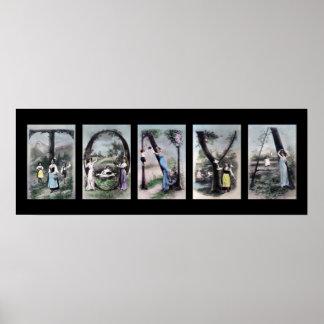 Arte del nombre de letra del alfabeto de TONYA Impresiones