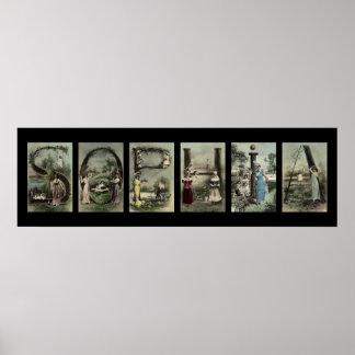 Arte del nombre de letra del alfabeto del vintage impresiones
