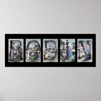 Arte del nombre de letra del alfabeto del vintage  poster