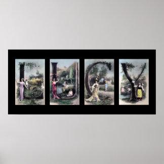 Arte del nombre de letra del alfabeto del vintage  póster