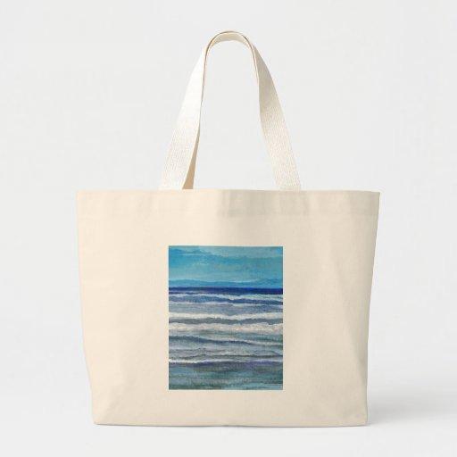 Arte del océano de la opinión de la playa bolsa tela grande