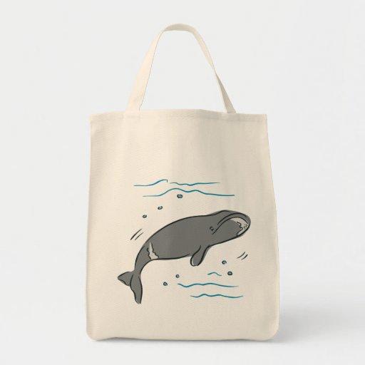 Arte del océano de los cetáceos de los mamíferos m bolsa tela para la compra