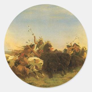 Arte del oeste americano del vintage, caza del pegatina redonda