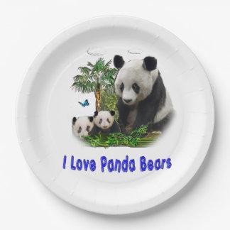 Arte del oso de panda platos de papel