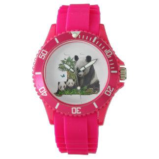 Arte del oso de panda reloj