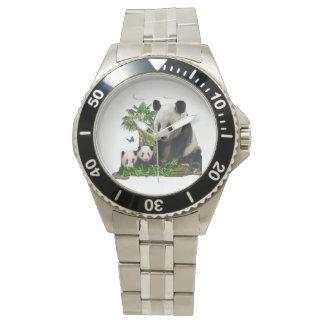 Arte del oso de panda relojes de pulsera