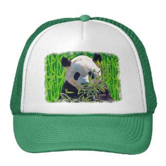 Arte del oso de panda y de la fauna del bambú gorros bordados