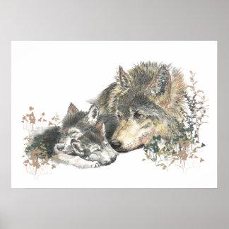 Arte del padre del lobo de la acuarela y del anima poster