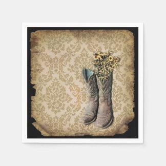 arte del país occidental de las botas de vaquero servilleta desechable