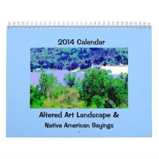 Arte del paisaje con la sabiduría del nativo calendario de pared