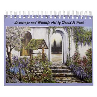 Arte del paisaje y de la fauna de David E Paul Calendario