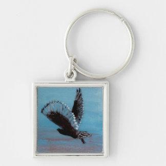 Arte del pájaro del búho de la salida del sol llavero cuadrado plateado