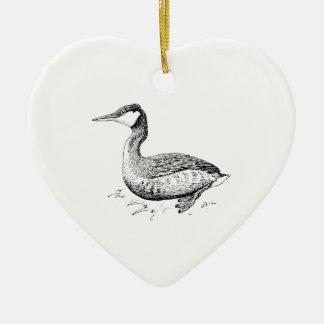 Arte del pájaro del Grebe Adorno Navideño De Cerámica En Forma De Corazón