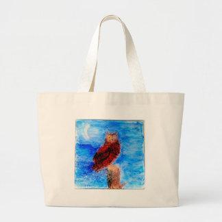 Arte del pájaro del noctámbulo bolsa de tela grande