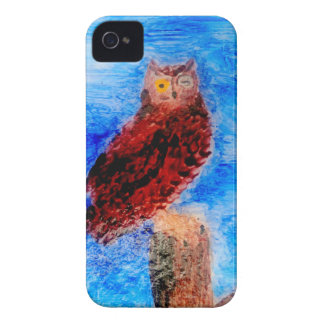 Arte del pájaro del noctámbulo Case-Mate iPhone 4 protector