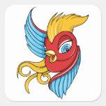 Arte del pájaro del tatuaje de los años 40 del calcomanías cuadradass personalizadas