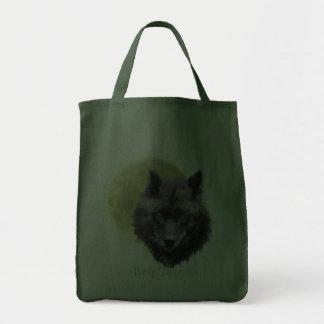 Arte del partidario del lobo negro del LOBO GRIS y Bolsa De Mano