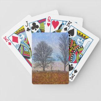 Arte del pasto de las cercas de los árboles y de l baraja cartas de poker