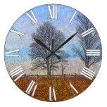 Arte del pasto de las cercas de los árboles y de l reloj de pared
