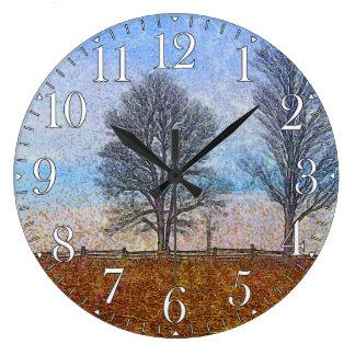 Arte del pasto de las cercas de los árboles y de l reloj redondo grande
